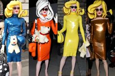 Ummm......Pandemonia the inflatable fashionista - and Snowy the inflatable dog. London Fashion Week 2014