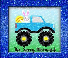 Easter themed, Monster Truck with the Easter Bunny and an egg along for a ride!  Vector SVG file - for HTV, vinyl decor.  Use with Silhouette or Cricut or as a Printable Iron On Design!  Svg Eps Dxf Png Jpg