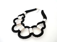Black Rope Tribal Statement Necklace