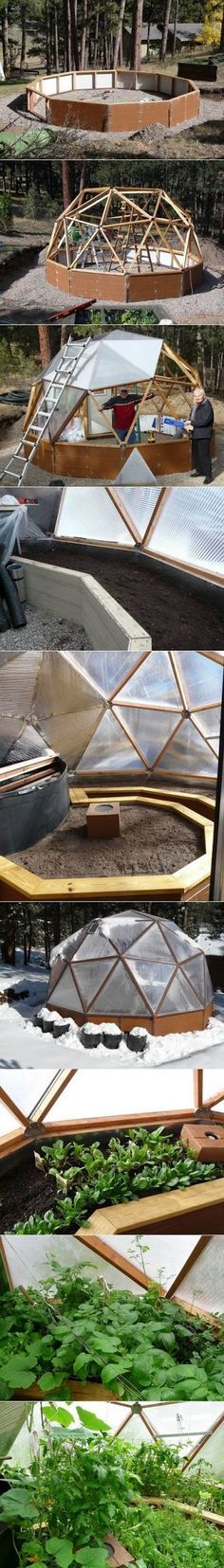 Geodesic Dome Greenhouse - helped some friends of mine do the finishing touches. Beware those angles!