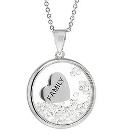 """Athra Silver-Plated """"Family"""" Shaker Pendant with Clear Crystals   Bon-Ton"""