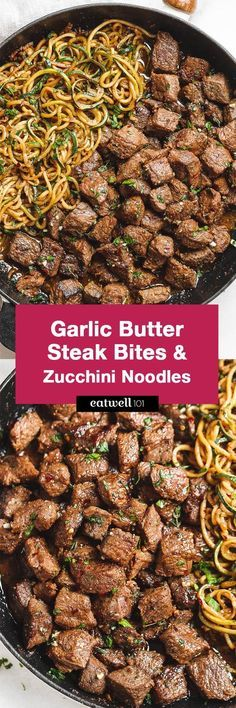 Garlic butter Steak Bites with Lemon Zucchini Noodles – So much flavor and so easy dinner to throw together! Garlic butter Steak Bites with Lemon Zucchini Noodles – So much flavor and so easy dinner to throw together! Meat Recipes, Paleo Recipes, Low Carb Recipes, Cooking Recipes, Recipies, Zoodle Recipes, Easy Low Carb Meals, Recipes With Steak, Healthy Steak Recipes