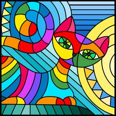 Line Art: Color by Number Acrylic Art, Acrylic Painting Canvas, Fabric Painting, Canvas Art, Glue Art, Hippie Art, Art Lessons Elementary, Arte Pop, Cat Drawing