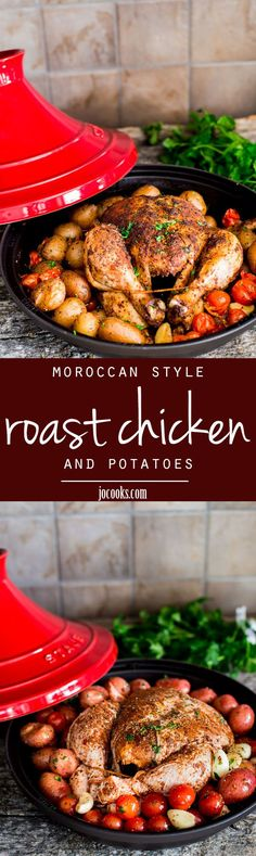 This Moroccan Style Roast Chicken and Potatoes is slowly cooked in a tagine and filled with intense Moroccan flavor. 5 minute prep time is all you need for this delicious roast chicken with a twist!