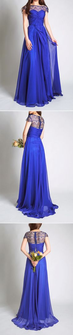 concord chiffon long bridesmaid dress with lace cap sleeves and bateau neck