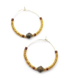 Limited Edition Gold Hoop Hishi Earrings with Brass & Copper Beads African Artists, Copper, Brass, African Jewelry, Gold Hoops, Modern Jewelry, How To Do Nails, Unique Gifts, Jewelry Design