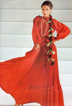 Lanvin haute couture- 1977 Red taffeta pleated accordion blouse and long ruffled skirt ensemble.  L'officiel USA Summer Issue 1977