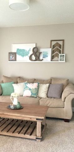 A cute ledge gallery wall. Simple and sweet!