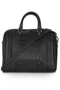 Croc Panel Bowling Bag - Bags & Purses  - Bags & Accessories