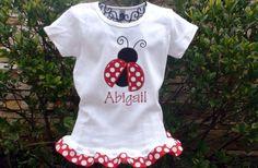 Personalized Polka Dot Ladybug Ribbon Ruffle shirt Girls boutique free monogram short long sleeve custom embroidered sew cute creations on Etsy, $23.00