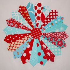 kitchen colours - red and aqua...love the 'quilt' pattern/colors