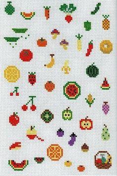 Pixelart, простейшие объекты - фрукты, еда в примитивном изложении
