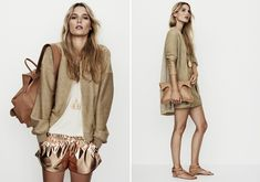 Love the outfit on left. Gold bomber and metallic running shorts. Love this Nanushka number!
