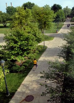 Late afternoon on Marquette University's Central Mall, as viewed from the Raynor Library bridge.