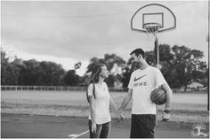 Amy & Jeff | Perkasie, PA | Second Street Park | Basketball | Engagement | Bucks County, PA | Hazel Lining Natural Light Photography | Black and White