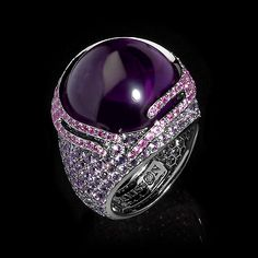 Mousson Atelier, collection New Age - Fuji, Black gold 750, Amethyst 21,19 ct., Multicolored sapphires