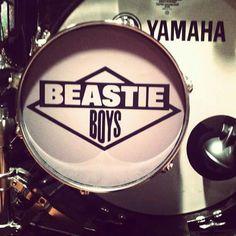 "Questlove's bass drum head in tribute to Adam ""MCA"" Yauch. (Photo courtesy of via Instagr. Drums Art, Drum Heads, Beastie Boys, Boy Meets, Music, Artist, Bass Drum, Drummers, Bump"