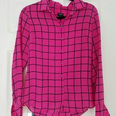 Pink J. Crew Blouse 100% silk Hot pink Blouse with black stripes. Size XS. J. Crew Tops Blouses