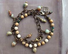 Impression jasper charm bracelet SET with solid brass chain, Rustic stone jewelry for women, Anniversary gift for urban cowgirls, OOAK Jade Jewelry, Stone Jewelry, Diy Jewelry, Jewelry Gifts, Women Jewelry, Handmade Jewelry, Fashion Jewelry, Bracelet Clasps, Bracelet Set