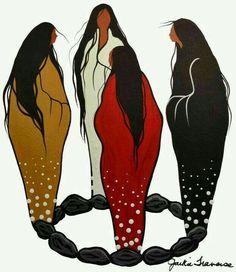 Moon Circle of Women.to the four winds (Jackie Traverse, Anishinaabe. Native American Paintings, Native American Artists, Native American Indians, Native American Beauty, American Indian Art, Native Indian, Native Art, Arte Latina, Native Design
