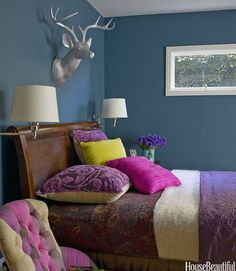 Dark Teal Room | Rich, Deep Teal | 10 Colorful Bedroom Ideas to Steal - Yahoo Shine