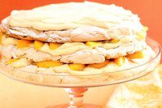Nectarine and almond layered pavlova -