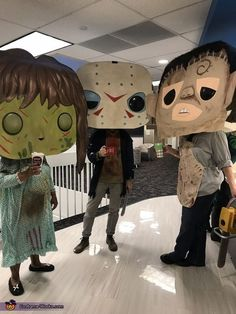 Christopher: Hand built Funko POP Heads for our group costume. All heads were built by me and then we all crafted them to be our favorite horror characters. Movie Character Halloween Costumes, Halloween Costume Contest, Halloween Kostüm, Halloween Costumes For Kids, Halloween Decorations, Costumes Kids, Funko Pop Horror, Cardboard Costume, Horror Movie Characters