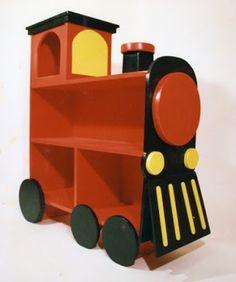 bookcase shaped like a train, I don't like the color but I do like the concept.