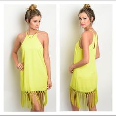 Coming soon!! Lime fringe dress Details to come! Please like to be notified of arrival! Boutique Dresses