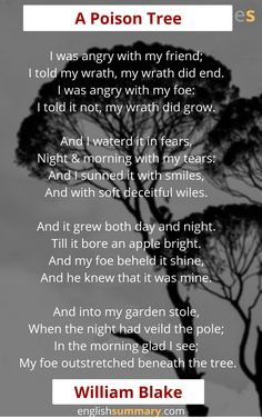 A Poison Tree Analysis A Poison Tree Analysis, Poison Tree Poem, Life Lesson Quotes, Life Lessons, Morning Poem, Lonliness, Moral Stories, Poems Beautiful, Think And Grow Rich