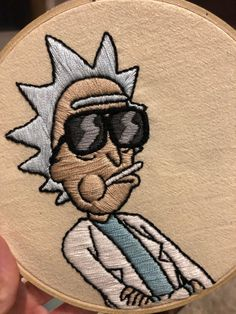 """Rick Sanchez, you son of a bitch, I'm in."" (Art from Rick & Morty, : Embroidery Diy Embroidery Patterns, Hand Embroidery Projects, Flower Embroidery Designs, Simple Embroidery, Hand Embroidery Patterns, Cross Stitch Embroidery, Couture, Tye Dye, Crafts"
