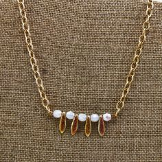Handmade Beaded  Necklace Gold Etched Czech Glass Beads Alternate With White AB Faceted Beads 22 inch Chain With Lobster Claw Closure by oscarcrow on Etsy