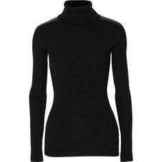 Autumn Cashmere Leather-trimmed cashmere turtleneck sweater (€175) ❤ liked on Polyvore featuring tops, sweaters, black, black sweater, ribbed turtleneck, turtle neck sweater, black turtleneck et polo neck sweater