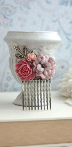 Rose Pink, Rust Red Fabric Rose Flower Hair Comb. Rustic Fall Wedding Hair Piece By Marolsha.