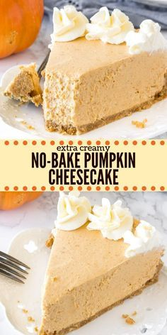 This extra creamy no bake pumpkin cheesecake has a delicious pumpkin spice flavor and cinnamon graham cracker crust. It's way easier to make than traditional cheesecake – and perfect for fall or Thanksgiving! No Bake Pumpkin Cheesecake, No Bake Pumpkin Pie, Easy Pumpkin Pie, Easy Cheesecake Recipes, Pumpkin Pie Recipes, Baked Pumpkin, Pumpkin Dessert, Dessert Recipes, Pumpkin Spice