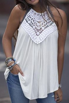 Solid Crochet Hollow Out Halter Casual Blouse Shop Women's Trendy Clothes Online. Boho Fashion, Fashion Dresses, Womens Fashion, Fall Fashion, Fashion Trends, Mode Jeans, Bohemian Mode, Lace Tunic, Loose Shirts