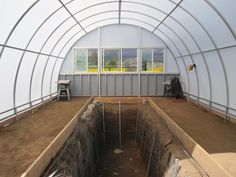 Aquaponics Greenhouse Picture: Fish Tank (FT) at back above Grow Beds (GBs) either side, Reserve Tank (RT)below w pump back to AT above FT Where process repeats.