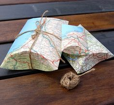 Map Pillow Boxes with Jute String Tie