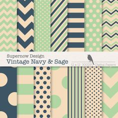 Navy and Sage Digital Paper.Navey and Sage by SupernowDesign, $4.00