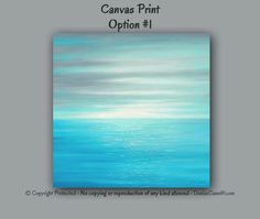 "Square canvas print of original seascape painting designed to enhance your home or office decor. Colors include tiffany blue, teal blue, light turquoise blue, aqua, grey, white, and a touch of teal green. This art would really look good in a laundry room. The colors just ""feel"" clean. Artwork is by Denise Cunniff - ArtFromDenise.com. View more info at https://www.etsy.com/listing/204281424"