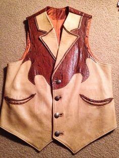 Vintage Handmade Vest Men's Deerskin and Snake #Handmade #Deerskinsnake
