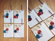 Here is another DIY idea for those of you throwing a party for Independence Day next week. These will add the perfect amount of color to your table set-up! Since I made these, I can't stop th…