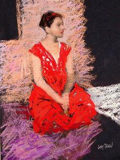 'Girl in Red Dress' by Australian artist & painter Judy Drew via the Herald Sun Australian Painters, Australian Artists, Pinturas Color Pastel, Pastel Portraits, Pastel Drawing, Aboriginal Art, Figure Painting, Figurative Art, Female Art