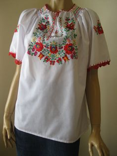 Hand embroidered Hungarian Matyo Kalocsa  blouse by RealRomania
