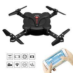 RC Quadcopter Drohne mit FPV-Kamera und Live-Video - Flexible klappbare Tragflü gel - App und Wifi Telefonsteuerung UAV Drone- Höhenhaltung 3D Flips und Rollen - 6 -Achsen-Kreisel Schwerkraft-Sensor RTF Hubschrauber von Kidcia, schwarz  http://amzn.to/2qsjPBc