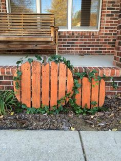 I cut up and made a fall yard decoration. I was going for that weathered rustic look and that old tough pallet didn't let me down!    #Garden, #PalletDecoration, #Pumpkin