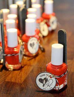 bridal shower favors - Essie nail polish with mini emery board