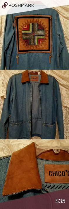 Chicos beaded jean jacket Gorgeous beaded red silver beads with gorgeous  design  leather collar can you cleaning on collar 2 front open pockets otherwise in great condition Chico's Jackets & Coats Jean Jackets
