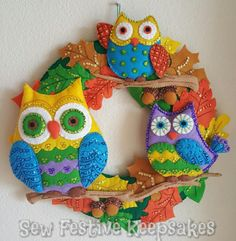 Owl Wreath, Autumn Wreath, Fall Wreath, Felt Wreath, Embroidered Wreath - pinned by pin4etsy.com
