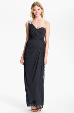 Xscape Beaded One Shoulder Sheer Mesh Gown available at #Nordstrom